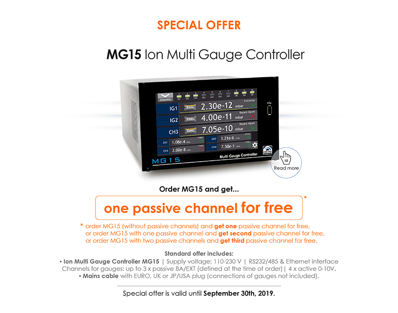 Check our special offer for MG15 Ion Multi Gauge Controller
