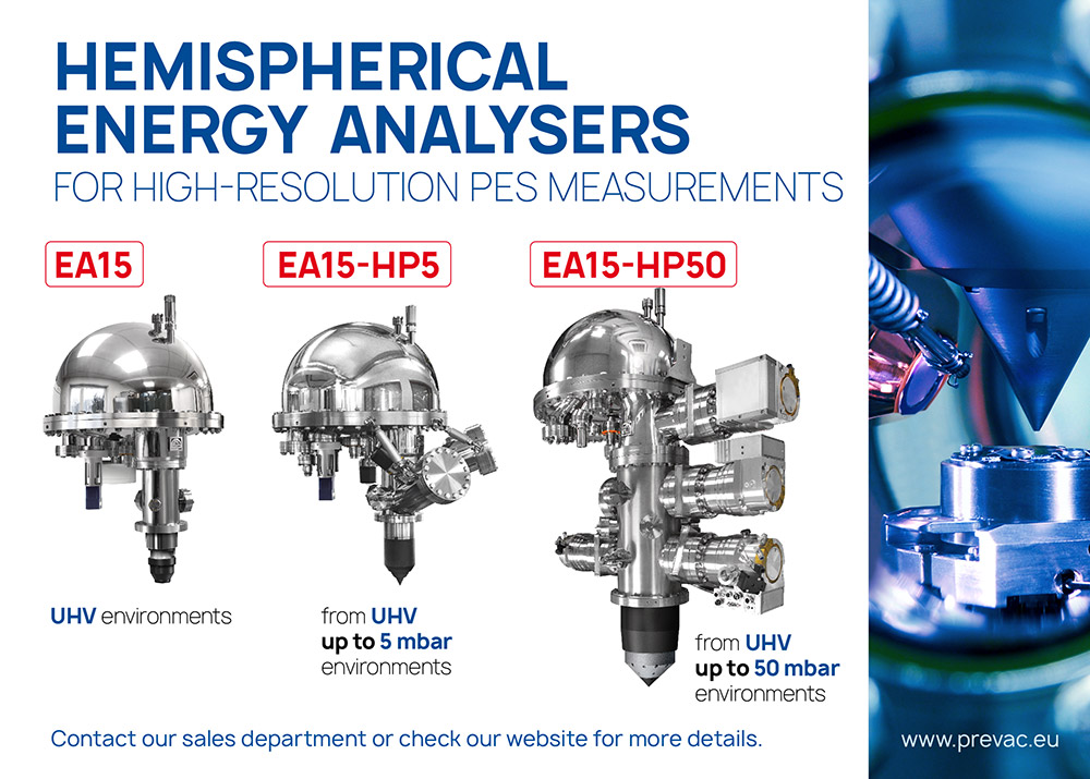 Energy analysers from UHV up to50 mbar environment.